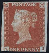 1841 1d PL58 (TJ) BS 27h red-brown (BS'2') UN
