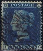 1857 2d PL 6 (IG) F7 deep blue (Ivory head)
