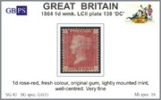 1864 1d PL138 (DC) G 1(1) rose-red M