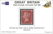 1864 1d PL156 (OB) G 1(1) rose-red LM