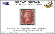 1864 1d PL174 (SI) G 1(1) rose-red HM