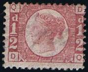 1870 1/2d PL 15 (DQ) G4 rose-red HM